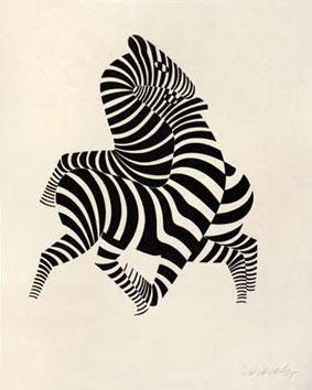Vasarely Victor : Lithographie originale signée : Zèbres