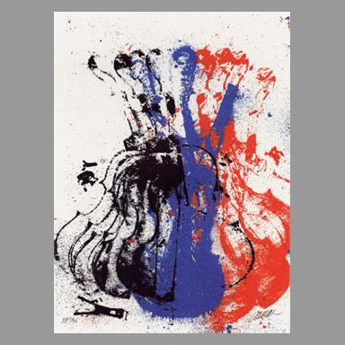 Arman : Sérigraphie : Squeezed Blue Fiddle