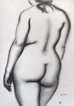 Original signed drawing de  : Study of a nude X