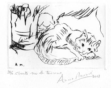 Gravure originale signée de  : Chats sur la terrasse