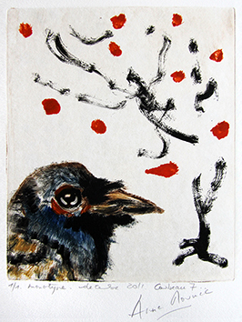Original signed monotype de Mounic Anne : Corbeau 7