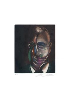 Bacon Francis : Gravure signée : Portrait de Michel Leiris