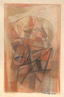 Signierte originale Pastell-Zeichnung de  : Komposition XXIV
