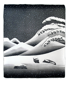 Original signed lithograph de  : Snow without colour