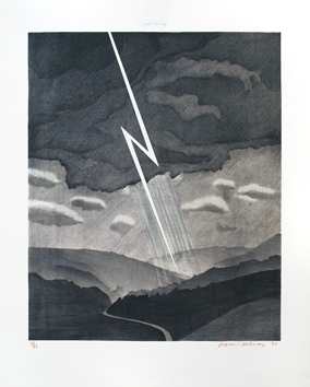 Original signed lithograph de  : The Weather series : Lightning