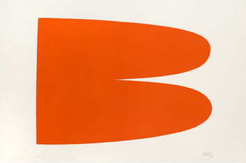 Kelly Ellsworth : Lithographie originale signée : Rouge-Orange