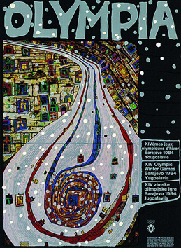 Signiertes Plakat de Hundertwasser F. : Olympia, The end of the road