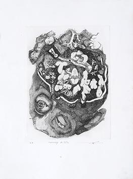 Gravure originale signée de  : Hommage de tête