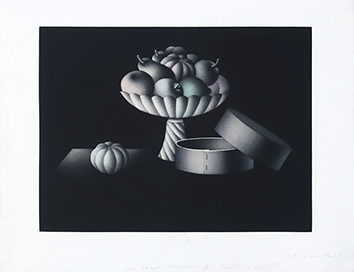 Original signed mezzotint de  : Un vague souvenir de fruits confits