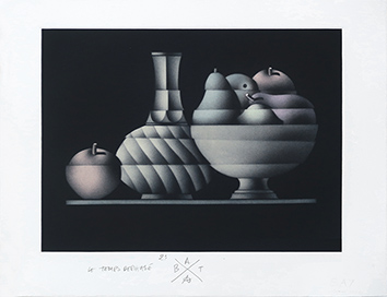 Original signed mezzotint de  : Le temps déphasé