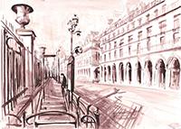 Dessin à l'encre signé de  : Rue de Rivoli, Paris I