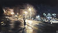 Huile originale signée de  : Avenue Attila, Budapest
