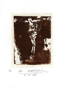 Original signed linocut de  : Study of Christ