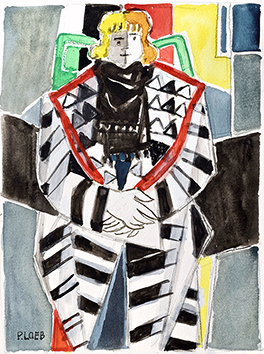 Original signed watercolour de  : Le manteau