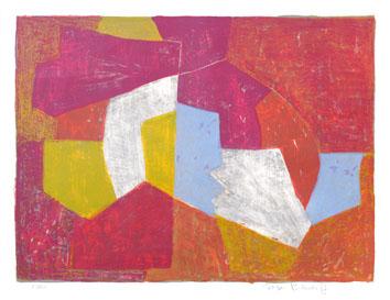 Poliakoff Serge : Lithographie originale signée : Composition carmin, brune, jaune et grise
