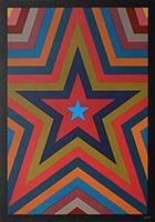 Sérigraphie originale signée de  : Five pointed star with colorbands III