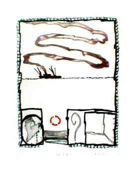Alechinsky Pierre : Gravure : Sur le fil