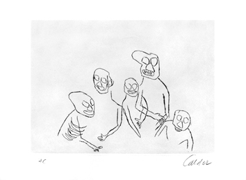 Original signed etching de  : Five characters