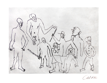 Original etching de  : Characters with canes