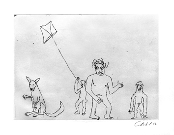 Original signed etching de  : Characters with kite