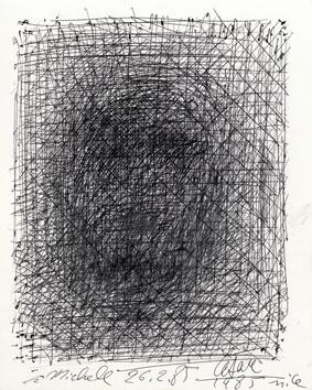 César Baldaccini : Dessin original signé : Autoportrait
