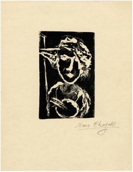 Chagall Marc : Gravure : Le peintre... palette