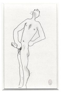Cocteau Jean : Dessin original : Nu érotique