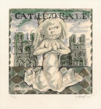 Foujita Léonard : Bois gravé original : Cathédrale