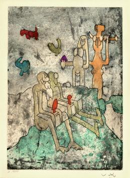 Matta Roberto : Gravure eau-forte : Vivante mortalité I