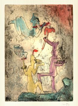 Matta Roberto : Gravure originale : Vivante mortalité II