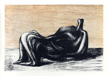 Moore Henry : Lithographie signée : Draped reclining figure