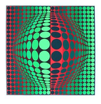 Vasarely Victor : Sérigraphie originale signée : Composition E