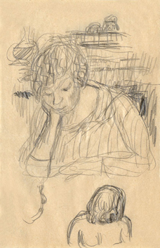 Bonnard Pierre : Dessin original : Marthe, études