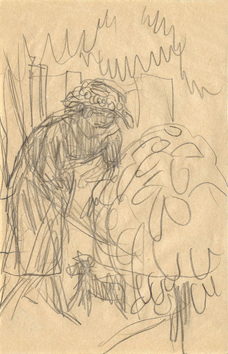 Bonnard Pierre : Dessin au crayon : Marthe promenant son chien
