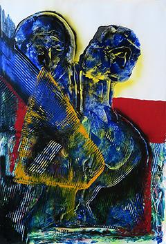 Acrylique sur papier signée de  : Composition XVII