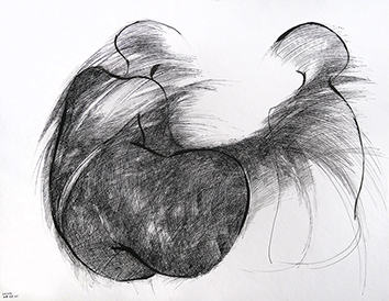 Signed drawing in ink de  : Dialogue