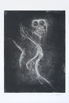 Gravure originale signée de  : L'homme serpent
