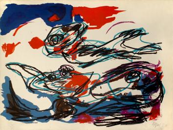 Appel Karel : Lithographie originale signée : Bleu et rouge