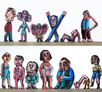 Original signed acrylic de  : Thirteen characters