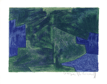 Poliakoff Serge : Lithographie originale signée : Composition bleue et verte