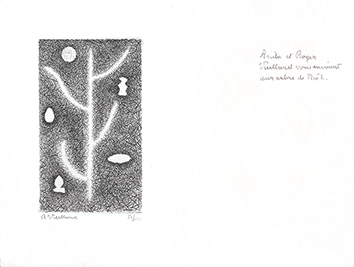 Gravure originale signée de  : Arbre de Noël