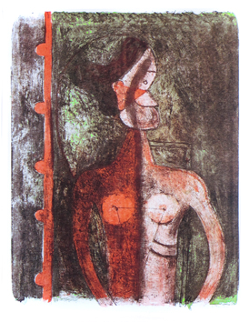 Original signed lithograph de  : Torso of a young woman