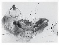 Signierte Tinte-Zeichnung de  : Komposition ohne Titel XXVIII