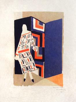 Delaunay Sonia : Lithographie signée : Modèle de robe