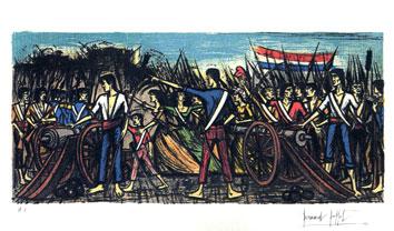 Buffet Bernard : Lithographie signée : Prise de la Bastille