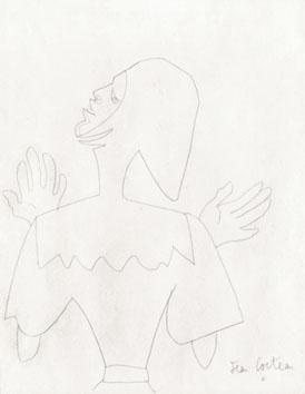 Cocteau Jean : Dessin original signé : Médiéval