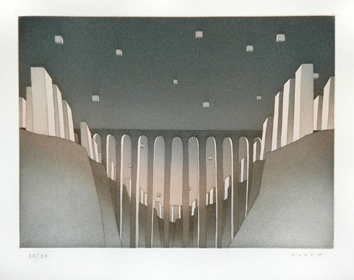 Original signed etching de  : The viaduct