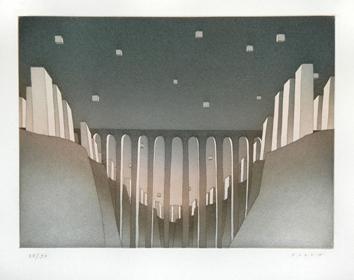 Folon Jean Michel : Signierte Radierung : Der Viadukt