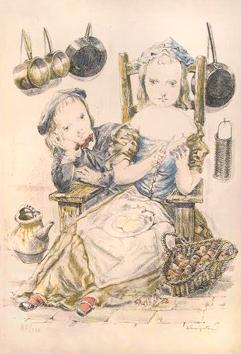Foujita Léonard : Lithograph signed : In the kitchen