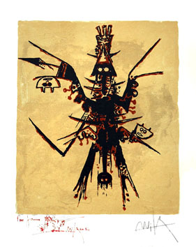 Lithograph signed de  : Rupestral praise of Miro